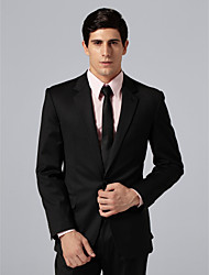 Custom Made Single Breasted One-button Notch Lapel Side-vented Black Groom Suit