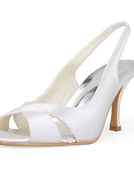 Women's Shoes Satin / Stretch Satin Spring / Summer / Fall Slingback Wedding Stiletto HeelBlack / Pink / Red / Ivory / White / Silver /