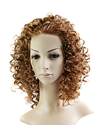 Lace Front Medium Mixed Hair Brown Curly Hair Wig