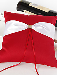 Bold Red Wedding Ring Pillow With Ivory Sash