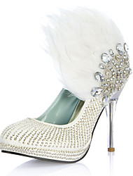 Luxurious Leatherette Upper Stiletto Heel Closed Toe With Rhinestone Feather Wedding Shoes