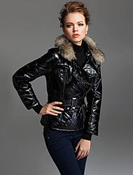 TS Fur Trimmed Lapel Puffer Padding Jacket with Belt