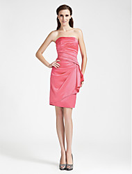 Knee-length Satin Bridesmaid Dress - Watermelon Plus Sizes / Petite Sheath/Column Strapless