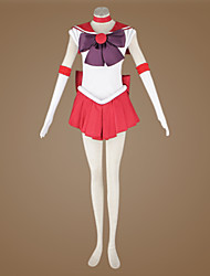 Inspirado por Sailor Moon Sailor Mars Animé Disfraces de cosplay Trajes Cosplay Retazos Blanco / Rojo Top