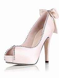 Satin Upper Stiletto Heel Pumps With Rhinestone / Bowknot Wedding/ Party/ Evening Shoes