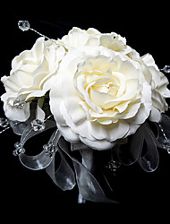 "Wedding Flowers Round Roses Bouquets Wedding Satin Crystal White 9.84""(Approx.25cm)"
