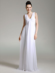 TS Couture® Formal Evening / Military Ball Dress - White Plus Sizes / Petite Sheath/Column V-neck Floor-length Chiffon