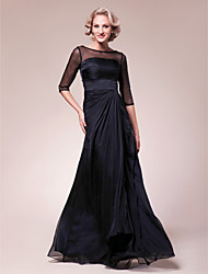 Lanting Bride® A-line Plus Size / Petite Mother of the Bride Dress Floor-length Half Sleeve Chiffon / Stretch Satin withBeading / Side