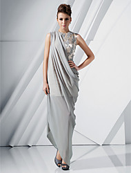 TS Couture® Formal Evening Dress - Silver Plus Sizes / Petite Sheath/Column Jewel Floor-length / Asymmetrical Chiffon / Satin