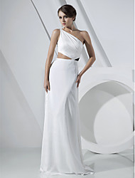 TS Couture® Formal Evening Dress - Elegant Plus Size / Petite Sheath / Column One Shoulder Floor-length Chiffon / Stretch Satin withDraping / Side