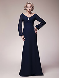 Sheath/Column Plus Sizes Mother of the Bride Dress - Dark Navy Floor-length Long Sleeve Chiffon