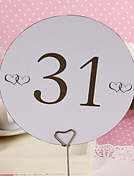Place Cards and Holders Round Table Number Card - Double Hearts (set of 10)