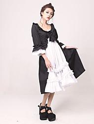 Half-Sleeve Tea-length Black White Jazz Wool Classic Lolita Dress