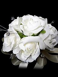 blanco elegante forma redonda de raso de cristal / de la boda ramo de novia