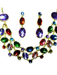 rhinestone brilhando ladies 'em colar de casamento liga de ouro e brincos conjunto