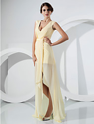 TS Couture Formal Evening Dress - Celebrity Style Elegant Sheath / Column V-neck Floor-length Asymmetrical Chiffon withSash / Ribbon Side