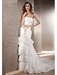 Lan Ting Trumpet/Mermaid Plus Sizes Wedding Dress - Ivory Chapel Train Strapless Taffeta