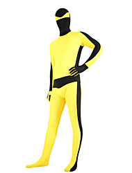 Yellow and Black Mixed Color Lycra Zentai