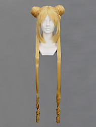 Pelucas de Cosplay Sailor Moon Sailor Moon Dorado Largo Animé Pelucas de Cosplay 100 CM Fibra resistente al calor Mujer