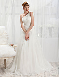 Lanting Trumpet/Mermaid One Shoulder Court Train Chiffon Wedding Dress