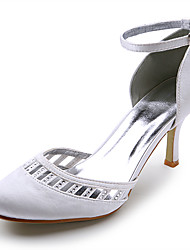 Satin Upper High Heel Closed-toes With Rhinestones Wedding Bridal Shoes