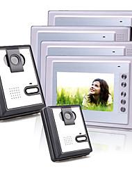 4 Liga de 7 polegadas TFT colorido LCD de vídeo porta telefone sistema de intercomunicação (2 câmeras de plástico)