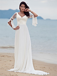 Sheath/Column Plus Sizes Wedding Dress - Ivory Sweep/Brush Train V-neck Chiffon
