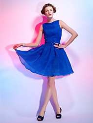 Cocktail Party Dress - Royal Blue Plus Sizes A-line/Princess Bateau Short/Mini Organza