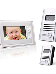 7 Inch Color TFT LCD Video Door Phone Intercom System (2 Alloy Cameras)