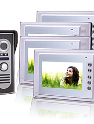 Four 7 Inch Color TFT LCD Video Door Phone Intercom System with Waterproof Camera (420 TVL)