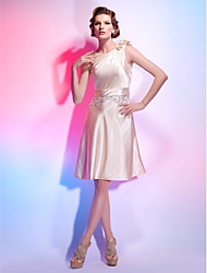 A-line Jewel Neck Knee-length Stretch Satin Cocktail Dress