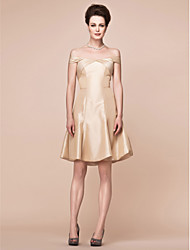 A-line Plus Sizes / Petite Mother of the Bride Dress - Champagne Knee-length Short Sleeve Taffeta