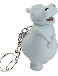 Key Chain Hippo Cartoon LED Lighting / Sound Gray ABS