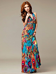Halter/V-neck Print Maxi Dress