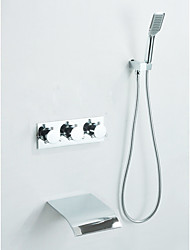 Chrome Finish Waterfall Tub Faucet with Hand Shower (Wall Mount)
