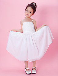A-line/Princess Tea-length Flower Girl Dress - Chiffon Sleeveless