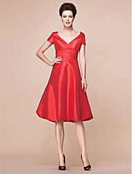 A-line Plus Sizes / Petite Mother of the Bride Dress - Ruby Knee-length Short Sleeve Taffeta