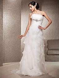 Lanting Sheath/Column Strapless Court Train Organza Wedding Dress
