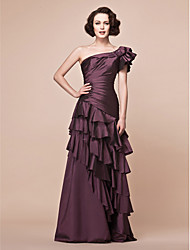 Lanting A-line Plus Sizes / Petite Mother of the Bride Dress - Grape Floor-length Short Sleeve Taffeta