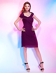 Sheath / Column Off-the-shoulder Knee Length Chiffon Cocktail Party Homecoming Dress with Side Draping Criss Cross