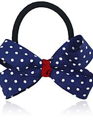 Blue Polka Dot Bow Hair Tie