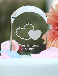 Cake Topper Personalized Classic Couple / Hearts Crystal Bridal Shower / Anniversary / Wedding Garden Theme Gift Box