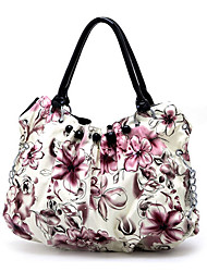 stilvolle Dame Blume PU-Handtasche / schwarz Griffe