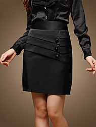 Triple Buttons Front Pencil Skirt