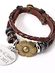 Personalized Charm And Alloy Flower On Leather Bracelet