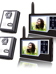 Two Wireless 3.5 Inch TFT Monitor Video Door Phone with 2 Cameras (Record,Photo)