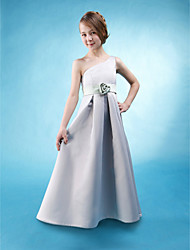 Floor-length Satin Junior Bridesmaid Dress A-line / Princess One Shoulder Natural with Draping / Flower(s) / Sash / Ribbon