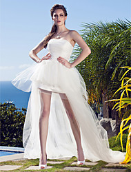 Lanting Bride Princess Petite / Plus Sizes Wedding Dress-Asymmetrical Strapless Tulle