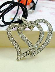 diamantes completos dois de coração colar