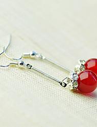 Crystal Red Agate Bead Earrings